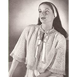 Vintage Crochet PATTERN to make - Crocheted Bed Jacket Sweater Cape. NOT a finished item. This is a pattern and/or instructions to make the item only.