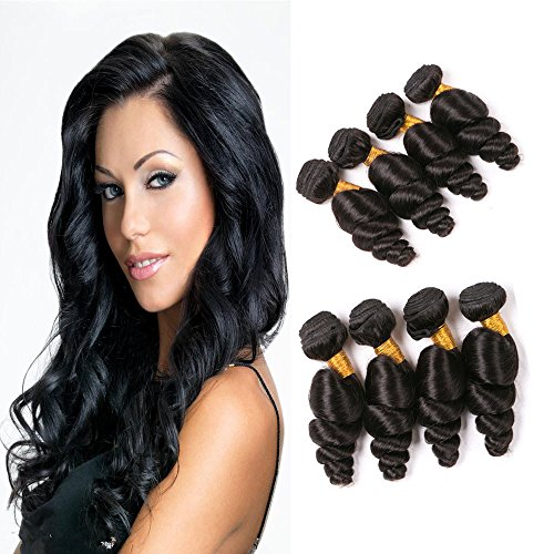Daiweier Virgin Brazilian Hair Loose Wave 4 Bundles Same Length 10 Inch Short Wavy Hair Piece Mink Real Human Hair Natural Color Weft Wholesale On (Wholesale 10 Piece Natural)