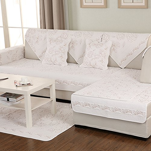 Cotton Sectional sofa throw cover pad For all season,Anti-slip Quilted furniture protectors For pet dog Slip cover For l U shaped sofa-1 piece-K 28x28inch(70x70cm)