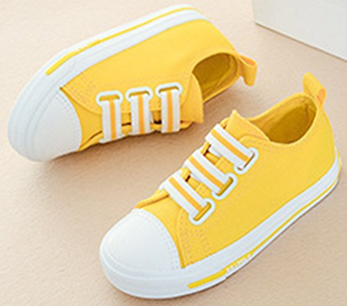VECJUNIA Boy's Girl's Solid Candy Round Toe Comfortable Anti-Skid Fabric Elastic Strap Flats Sneakers (Yellow, 10.5 M US Little Kid) by VECJUNIA (Image #2)