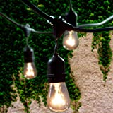 Lemontec Commercial Grade Outdoor String Lights with 15 Hanging Sockets – 48 Ft black weatherproof cord Weatherproof Strand for Patio Garden Porch Backyard Party Deck Yard – S14 Black