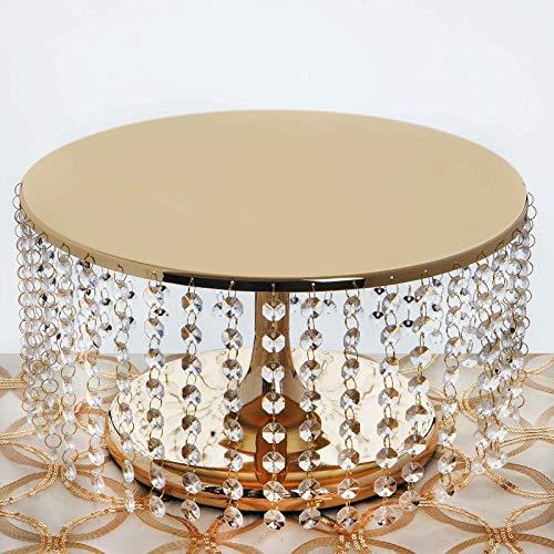 BalsaCircle 7.5-Inch Tall Gold Crystal Pendants Round Metal Cake Stand - Birthday Party Wedding Dessert Pedestal Centerpiece Riser ()