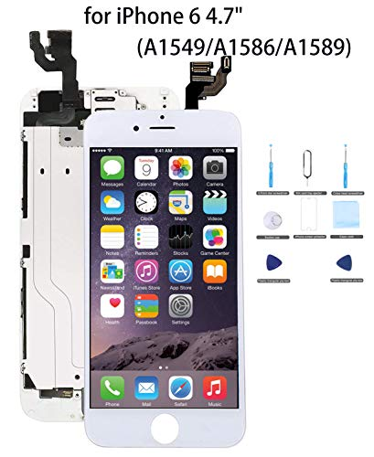 for iPhone 6 Screen Replacement White - 4.7 LCD Display Screen Touch Digitizer Assembly Replacement,Attached [Proximity Sensor, Ear Speaker, Front Camera],with Screen Protector, Repair Tools