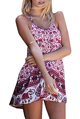 WOZNLOYE Sommer Kleider Damen Casual Druck Gemustert Kurz Kleid Strandkleider Fashion Schlinge Rückenfrei Minikleid Partykleider Cocktailkleid Abendkleider Rot sfRox0AZL