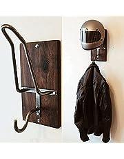 Motorcycle Helmet Rack & Jacket Hook,Motorcycle Helmet Stand Woodwood Wall Mounted,Motorbike Helmet and Coat Stand 2021 New