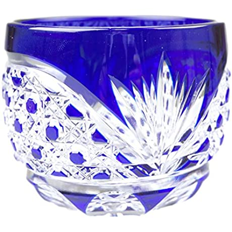 Crystal Sake Cup Edo Kiriko Guinomi Cut Glass Octagon Pattern Blue Japanese Crafts Sakura