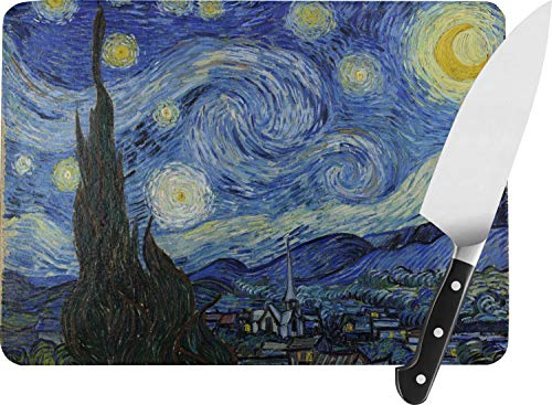 The Starry Night (Van Gogh 1889) Rectangular Glass Cutting Board - Large - 15