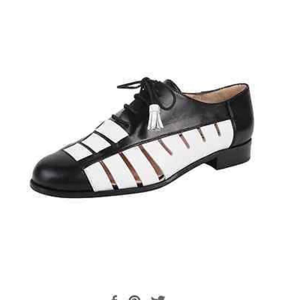 M 6 Jon Josef Talk Black and White Leather Flat