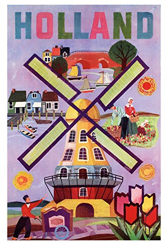 Holland Poster, Dutch, Windmill, Vintage Holland Travel Poster