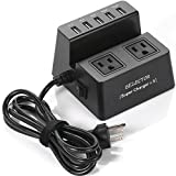 BESTEK 40W 8A 5-Port USB Charging Station 1700 Joule 2-Outlet Power Strip Surge Protector with 5-Feet Cord, Black