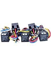 8MILELAKE (5 pack) 12V 30/40 AMP SPDT Automotive Relay with Wires & Harness Socket