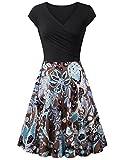 Laksmi Elegant Dresses, Womens Casual Dress A Line Cap Sleeve V Neck (XX-Large, Multicolor Coffee)