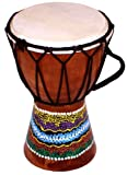 World Playground 15cm Djembe Drum with Hand Painted Design - West African Bongo Drum