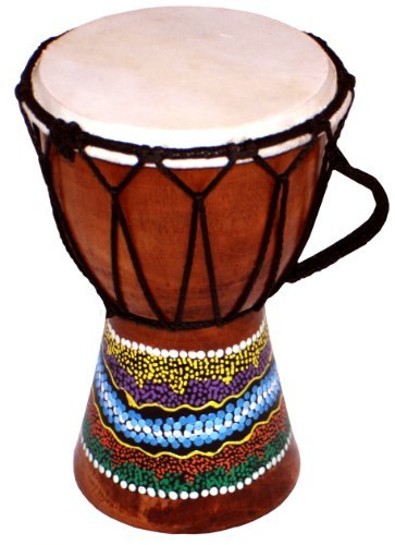 - World Playground 15cm Djembe Drum with Hand Painted Design - West African Bongo Drum
