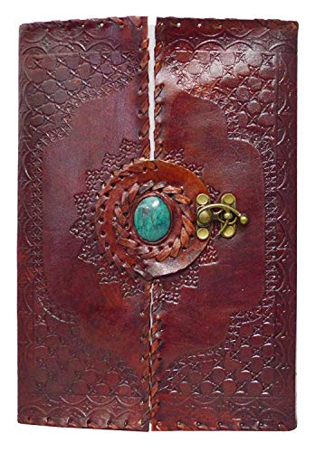 Handmade Leather Journal Diary Center Stone Embroidered Notebook Sketchbook with Blank Paper Pocket Notebook Brass Lock for Closer - Stone Embroidered