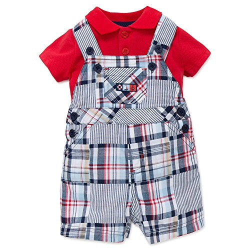 - Little Me Boys Plaid Shortall Overall and Red Polo Shirt 2 Piece Outfit 6 Months