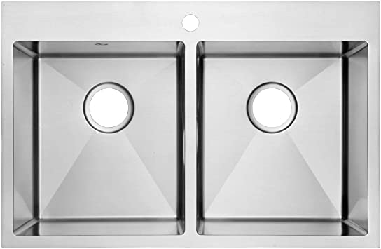 Without Grid Yutong 31 x 20 Top-Mount//Drop in Stainless Steel 50//50 Double Bowl Kitchen Sink
