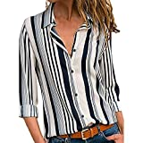 Lazzboy Womens Tops Blouse Cuffed Long Sleeve V-Neck Button Down Boho Irregular Vertical Striped Print Shirt(XL(14),White)