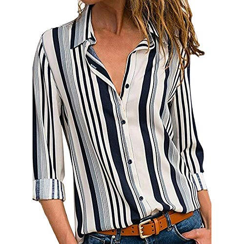 Striped Button Up Tops Women Casual Cuffed Long Sleeve V-Neck Shirt Blouse ()