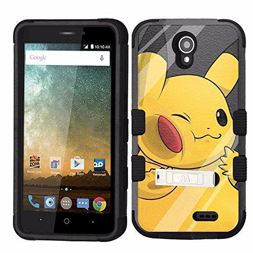 ZTE Prestige 2 Case, ZTE ZFive 2 Case, Hard+Rubber Dual Layer Hybrid Heavy-Duty Rugged Armor Cover Case - Pokemon Pikachu #W Photo - Pokemon Gaming