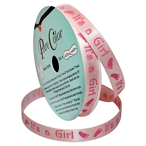 Morex Ribbon Special Occasions Ribbon: It's a Girl, Polyester, 3/8-Inch by 10-Yard, Light Pink, Item 90202/10-01