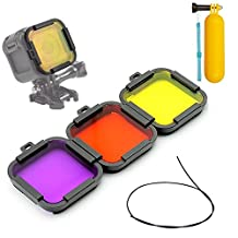 First2savvv Diving Switchable Lens Filter Kit For GOPRO Hero5 Session Hero4 Session: Purple, Yellow, red with diving stick