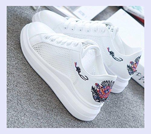 Moda Bordados Zapatos Primavera Flor Verano blanca Mujeres Lace Sneakers Casual Up Las Hueca Mujer Calzado De Transpirable Mujer XINGMU TIwYqzZUSS