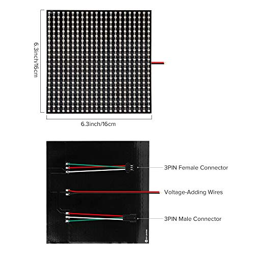 BTF-LIGHTING WS2812B RGB 2427SMD Individually Addressable Digital 22x22 484 Pixels 6.3in x 6.3in LED Matrix Flexible FPCB Dream Full Color Works with K-1000C Controller Image Video Text Display DC5V