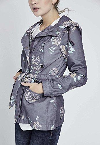 Blusa para Floral Azul Khujo Mujer Manga Estampado Chaqueta Larga 6qwTTxgR5