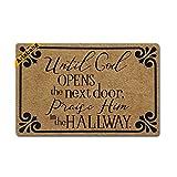 Artsbaba Christian Doormat Until God Opens The Next Door Praise Him In The Hallway Door Mat Rubber Non-Slip Entrance Rug Floor Door Mat Funny Home Decor Indoor Mats 23.6 x15.7 Inches