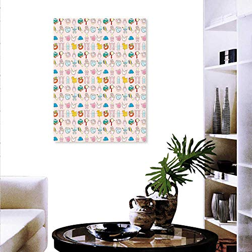 Baby Wall Art Canvas Prints A Vast Collection Toys Cartoon Drawing Stroller Drum Car Pacifier Slide Playthings Modern Wall Art Living Room Decoration 16