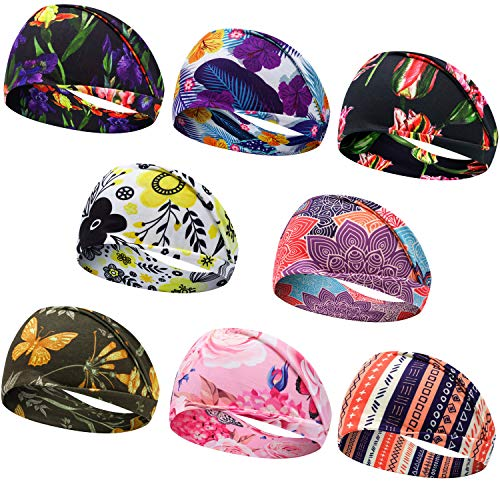 Headbands for Women, Bohemian Style Yoga Elastic Headwraps Head Wrap Hair Band 8 Pack