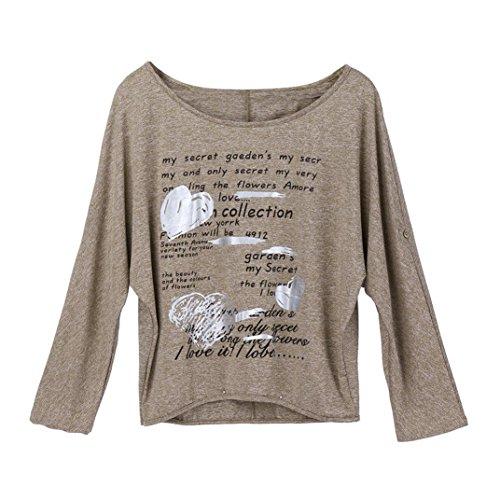 (Printing Tops,Toimoth Women Plus Size O-Neck Long Sleeves Printing Tops Loose Blouse(Khaki,3XL))