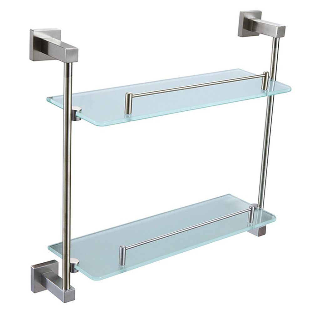Bathroom Glass Shelf With Rail, Angle Simple SUS304 Stainless Steel 2 Tier Storage Shelf Thick Tempered Glass Lavatory Organizer Storage Rack Vanity Shelf Over Kitchen Sink Wall Mount, Brushed Nickel by Angle Simple