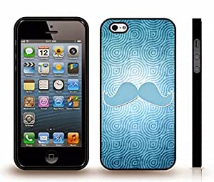 iStar Cases? iPhone 5/5S Case with Blue Mustache on Blue Wavy Patterns Background , Snap-on Cover, Hard Carrying Case (Black)