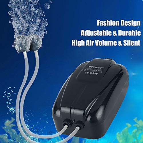 MC.PIG Aquarium Oxygen Pump Ultra Silent Air Pump for Aquarium Fish Tank Double Outlets Oxygen Pump Adjustable Durable Pump Black Body (Color : 8W)