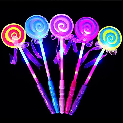 GshoppingLife 10 Pcs Fashion Kids LED Light-Up Toy Lollipop Glow Sticks Girls Princess Flashing Fairy Wand Sticks Birthday Party Dress Decor (10Pcs)