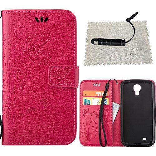 Funda Piel con Tapa para Samsung Galaxy S4 Mini i9190,Flip Fina Case de Cuero Samsung Galaxy S4 Mini i9190, TOCASO Billetera para Personalizada Repujado Flor Mariposa Pattern Completa Wallet Ultra Sli Rosa Roja