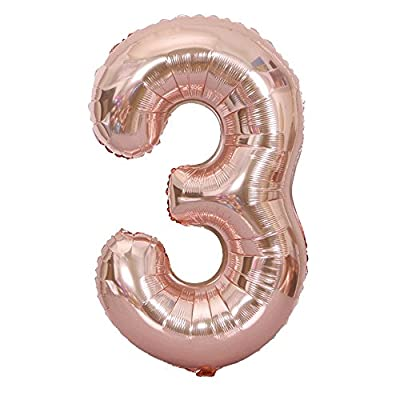 Jeeke 40 Inch Rose Gold Number Balloons 0-9 Foil Digital Balloons Decor for Party Baby Shower Birthday Decor (Color D, 1 Pcs): Sports & Outdoors