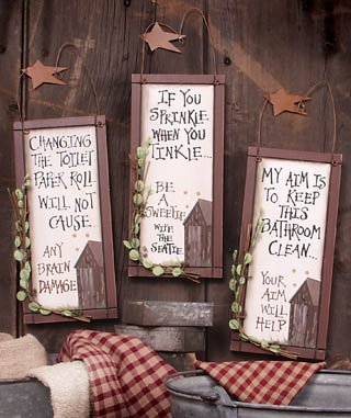 Outhouse Etiquette Signs Set of 3]()