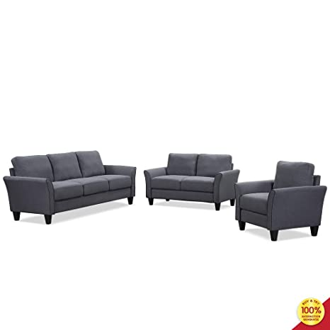 3 Pieces Living Room Sofa Furniture Set Sectional Armrest Chairs For Single Loveseat And Three Seats Couch Grey