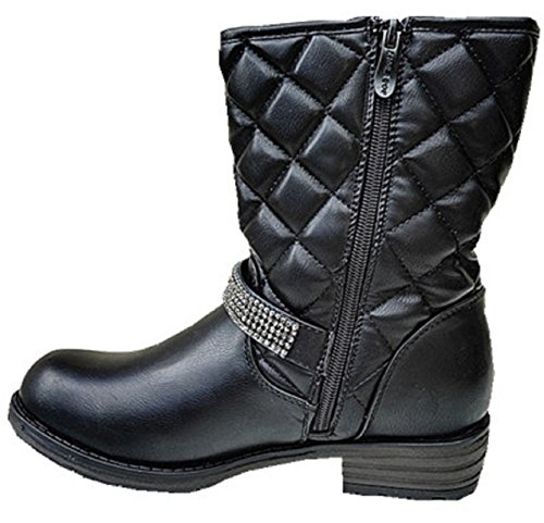 Boots woman stuffed boots fur fur Heel Black Square SM216 ORrCbdVAK5