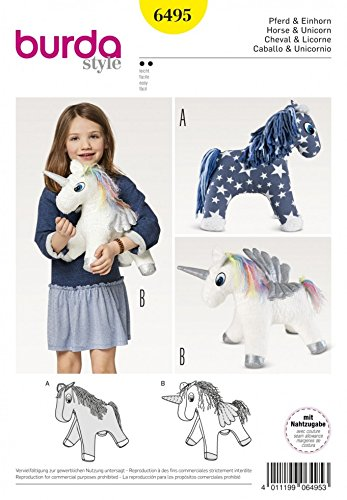 Horse Sewing Patterns - Burda Crafts Sewing Pattern 6495 Stuffed Animal Horse & Unicorn Toys