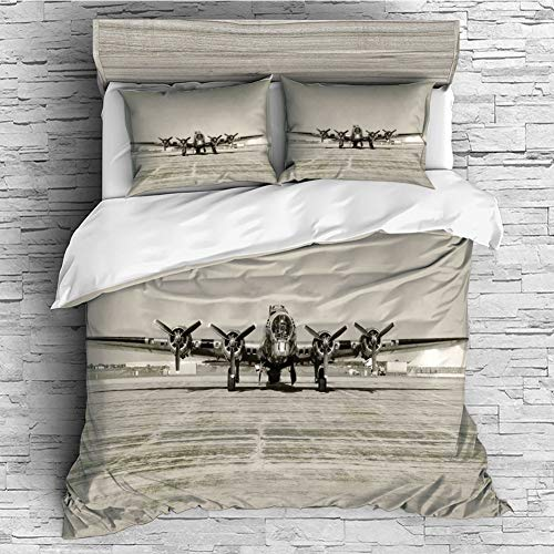 Cotton Duvet Cover 4 Pcs Comforter Cover Set Breathable and Skin-Friendly Bedding Set(queen size)Airplane Decor,World War II Era Heavy Bomber Front View Old Photo Flying history Takeoff Aeronautics - Rib Bomber