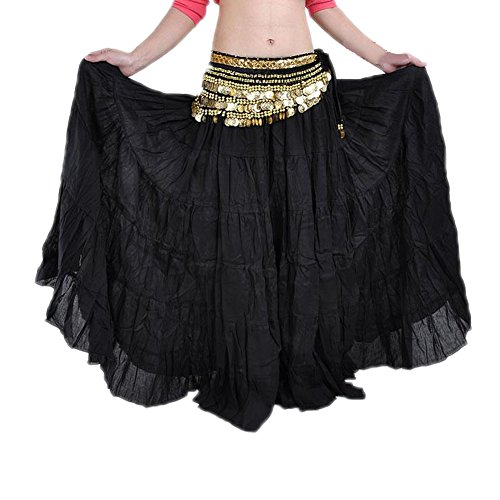 Gypsy Costume Ideas For Women (AvaCostume Tribe Gypsy Bohemian Vintage Solid Color Crinkle Maxi Skirt Belly Dance Black)