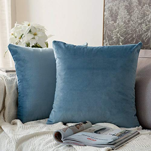 MIULEE Pack of 2 Velvet Pillow Covers Decorative Square Pillowcase Soft Solid Cushion Case for Sofa Bedroom Car 12 x 12…