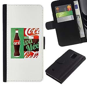 LASTONE PHONE CASE / Lujo Billetera de Cuero Caso del tirón Titular de la tarjeta Flip Carcasa Funda para Samsung Galaxy Note 4 SM-N910 / Drink Brand White Popular