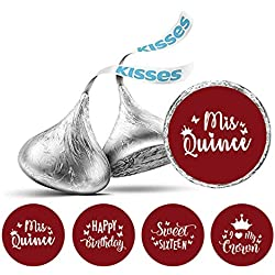 Darling Souvenir Hershey's Kisses Candy Labels 190 Pcs Quinceanera Party Theme Stickers-Maroon