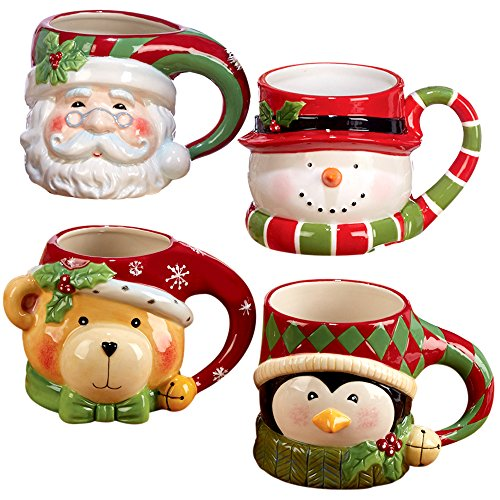 "Certified International""Santa, Snowman, Penguin & Bear"" 3D Figural Mugs (Set of 4), Multicolor"