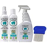 Natural Lice Treatment Kit, Family Size - Head Lice Shampoo, Hair Spray, Household Spray and Comb to Kill, Remove and Prevent Lice, Nits and Eggs - 4 Products, Hypoallergenic and Non-Toxic - Peppermint Scent